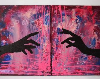 "Acrylic, oil on canvas, diptych ""Touch"""