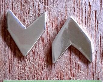 Chevron Studs sterling silver handmade geometric