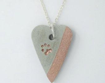 Concrete pendant necklace * heart & paw Rosé gold-metallic