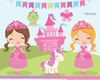 Princess clipart, Fairytale clipart, Unicorn clipart, Castle, Frog, Multicultural Princess, Princess Papers, Commercial License Included