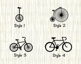 Bicycle Car Decal, Bicycle Decal, Unicycle Car Decal, Unicycle Decal, Bike Decal, Bike Car Decal, Road Cruiser Decal, Mountain Bike Decal