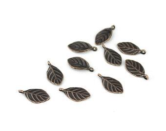 Dark Antique Copper Leaf Charms - 10 Pieces