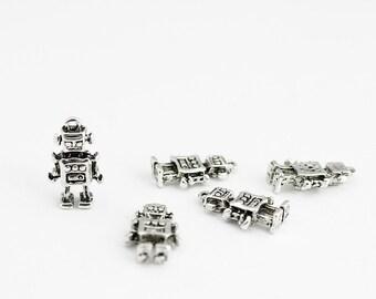 Antique Silver Robot Charms - 5 Pieces