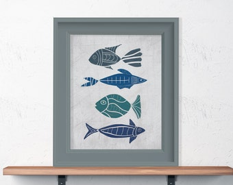 Hand Drawn Fishes Shades of Blues & Turquoise  8x10 or 11x14
