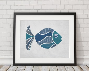 Hand Drawn Fish Shades of Turquoise and Blue  8x10 or 11x14
