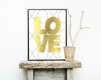 Gold Foil LOVE XOXO Print 8x10 or 11x14  Matte Options