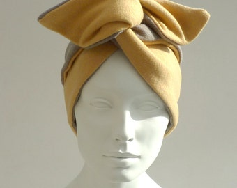 Wired Headband: Gold and Grey Flannel Wool