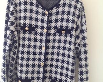 1980's vintage dogtooth check ladies cardigan jacket navy cream St Michael