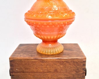 Fenton Coral Colored Pedestal Covered Dish with Embellishments  (G)