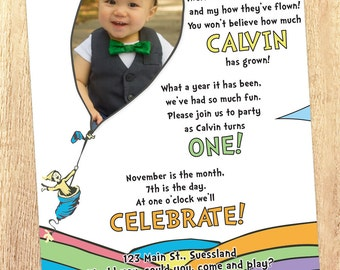 Oh! The Places He'll Go -- 1st Birthday Boy Invitation with Photo (Printable)