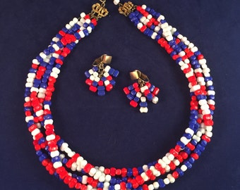 Patriotic and Pretty Hobé Demi Parure of Red White and Blue Glass Beads - Great Vintage Condition - Multi-Strand and Dangles 755