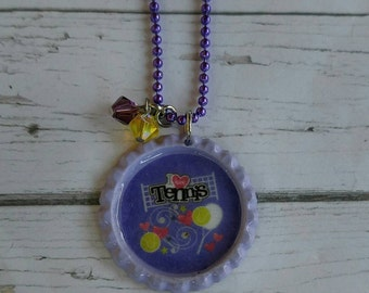 Girls Sports Jewelry// Bottlecap Necklace// Tennis Jewelry// Tennis Gift// Tennis Party Favor