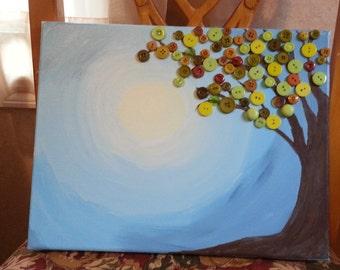 Button Tree 11x14 canvas