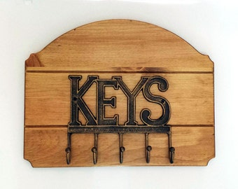 "Key Rack/Holder ""Beveled Edge Wood"" With Metal Key Hanger 14""L x 10 15/16""H - Golden Oak"