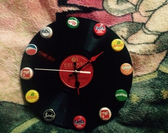 Vinyl recycled record clock. Columbia 10 inch 78 rpm