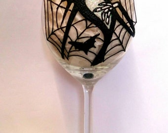 Jack Skellington Glitter Wine Glass