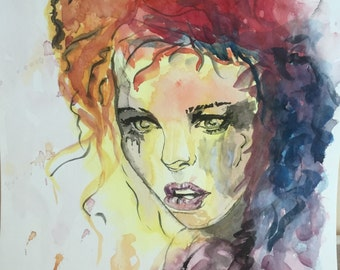 Girl who cried Watercolor 11in x 15in (27.9cm x38.1 cm). Original Painting .