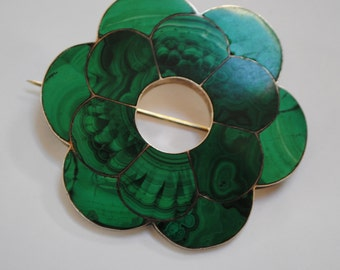 Malachite and silver brooch