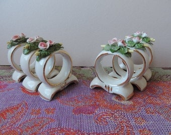 Porcelain Rose Gold Edged Napkin Rings from Germany