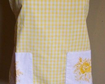 Yellow gingham apron-SALE