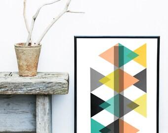 Triangle Print, Scandinavian Art, Geometric Art Print,  Geometric Wall Art, Minimalist Poster, Giclee print, Abstract Wall Art, Art Print