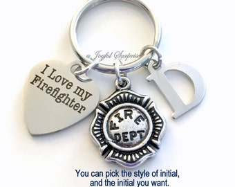 I love my Firefighter Key Chain, Fireman Keyring Emblem Key chain Gift for Fire Fighter's Wife Mom Father Initial birthday present Christmas