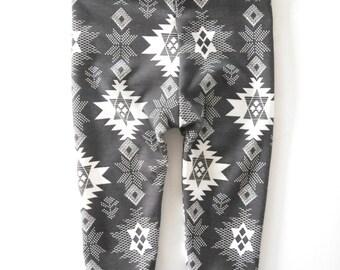 SALE Tribal Baby Leggings (charcoal gray and white) Boys Leggings and Girls Leggings