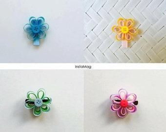 Ribbon Flowers Hair Clips