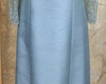 1970's Silk and Lace Gown/Size Large