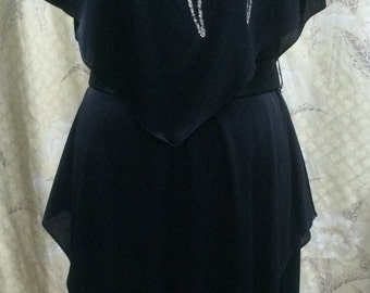 1960s Gilberti Black Hankerchief Tiered Dress/Shawl Dress