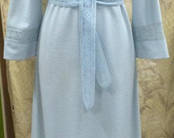 Powder Blue 1970s Maxi Dress/Caron Designs