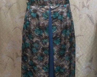 1960's Maxi Dress/Teal Brocade Floral Print Maxi Dress