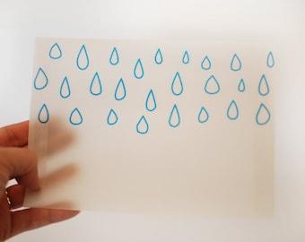 Raindrop Outline Translucent Vellum Envelopes - Decorative Non-Sealing - Rain in the Sky, Weather