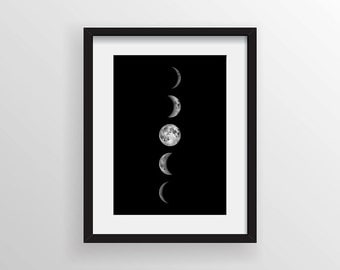 Moon Phases, Luna Print, Full Moon, Super Moon, Sky, Space, Stars, Astronomy, Science Wall Art, Black and White, Moon Decor, Lunar