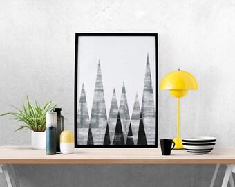 Geometric Mountains, Minimalist Abstract Art, Geometric Print, Mountains Print, Abstract, Triangles, Home Art, Nordic Design