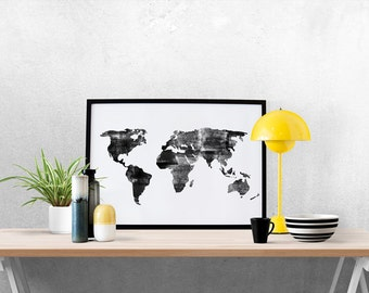 Watercolor World Map, World Map Print, World Map Art, Nursery Decor, Travel Nursery, World Map Painting, Engraved World Map, Black and White