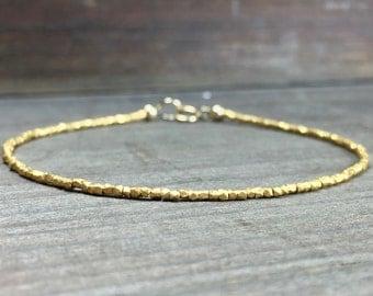 Delicate Gold bracelet gold vermeil hill tribe bracelet gold beaded bracelet delicate gold bracele gold beaded delicate bracelet stack