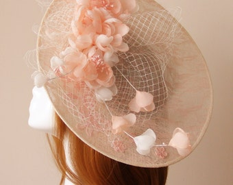 Bridal hat, Flower hat, bridal fascinator, Flower fascinator