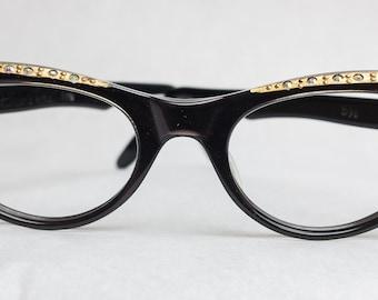 REAL Vintage 1960s Swan Spring Cat Eye Glasses Size 46 Black Frames Eyewear