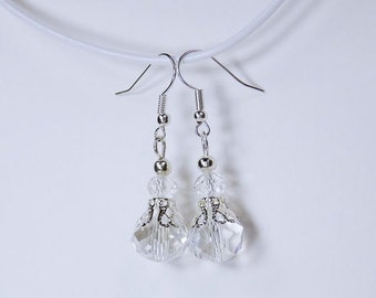 Earrings with clear beads and silver-tone earrings
