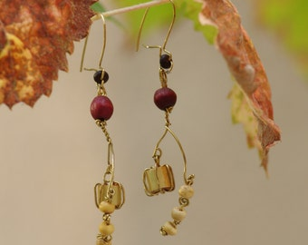 Wooden bead and brass wire earrings