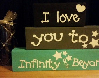 I Love You to Infinity and Beyond Wood Block Set