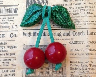 The cherry brooch - vintage bakelite inspired