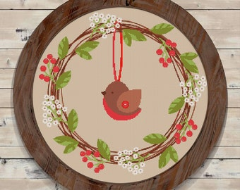Christmas Bird Wreath Modern Counted Cross Stitch Pattern // Instant PDF Download