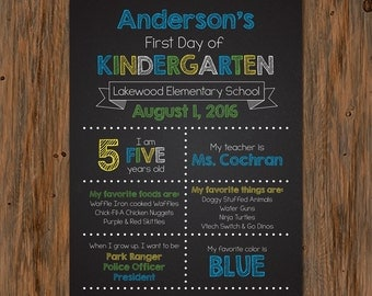 Personalized First Day of School Printable Sign
