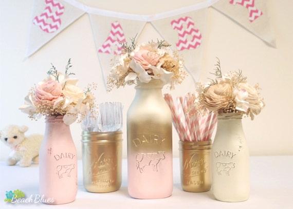 baby shower centerpiece painted mason jar milk bottles pink gold girl