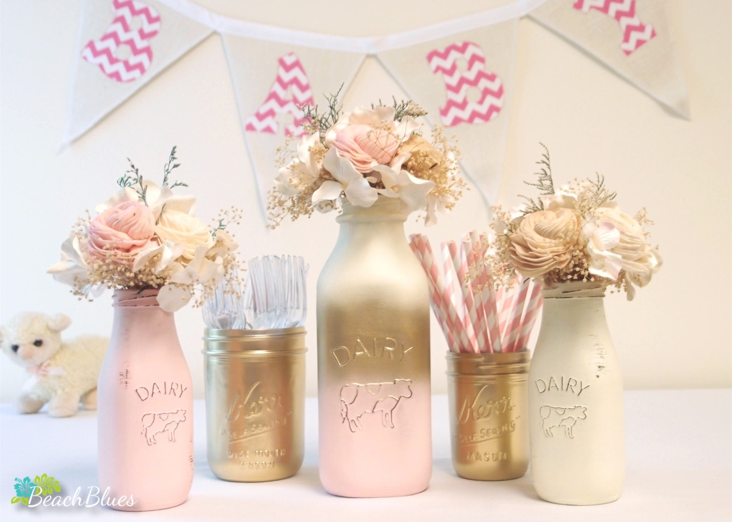 Baby Shower Centerpiece Painted Mason Jar Milk Bottles Pink, Baby Shower