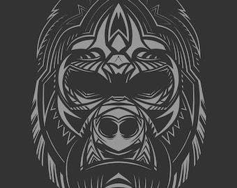 gorilla face etsy. Black Bedroom Furniture Sets. Home Design Ideas
