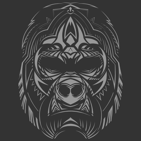 Gorilla Face Line Drawing : Abstract gorilla face t shirt positive art headstrong