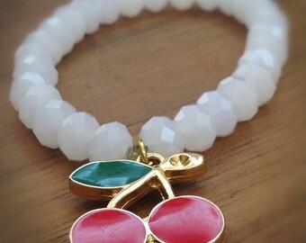 White Glass Beaded Bracelet with Metal Cherries Charm